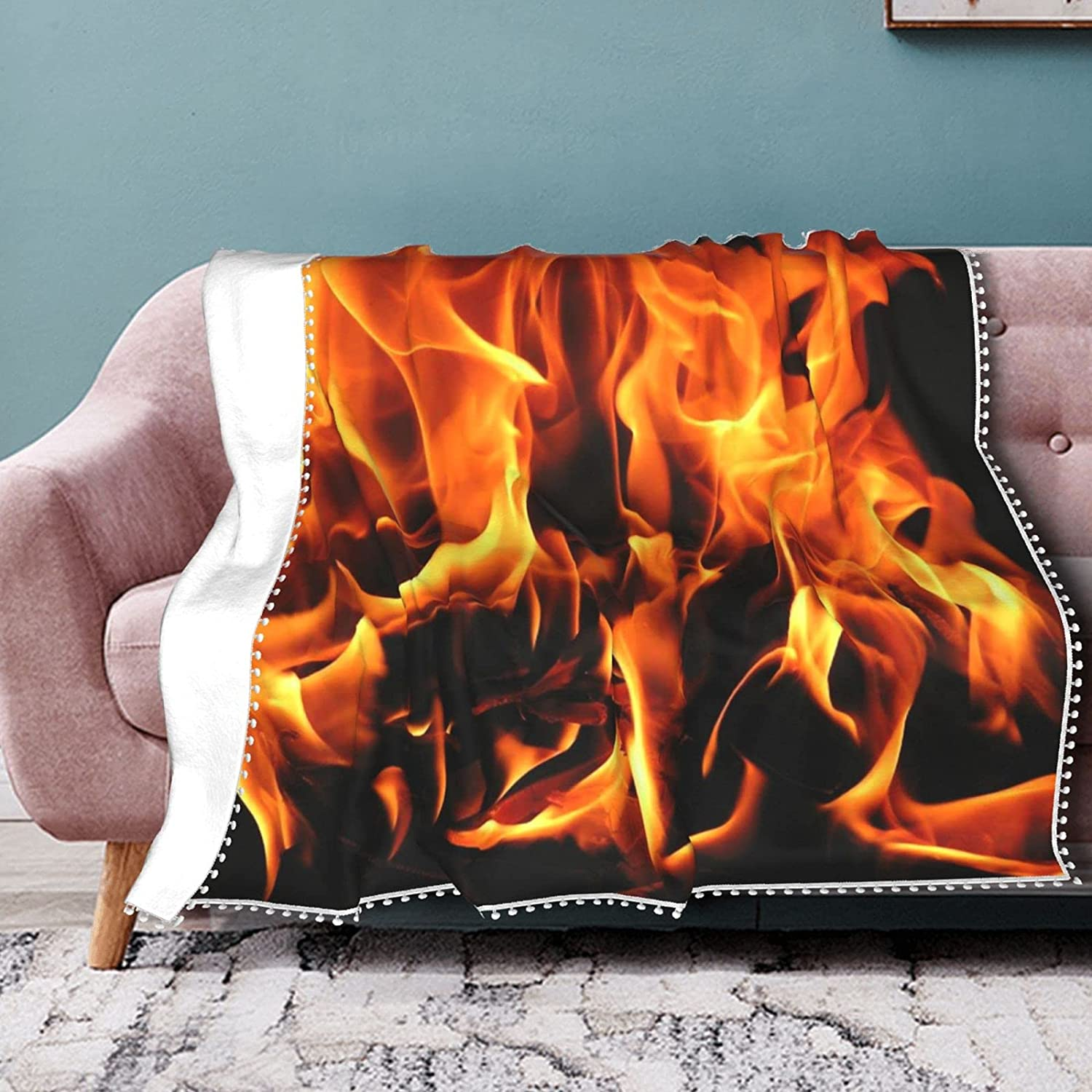 WIUEZWY Hamburger Max OFFicial shop 77% OFF Blanket Fire Art Soft Funny Flannel Th