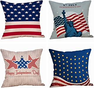 Set of 4 Patriotic American Flag July 4th Inspired Throw Pillow Covers,Stars and Stripes Vintage USA Flag Cotton Linen Pillow Cases Cushion Covers Square 18X18 Inch (Style 2)