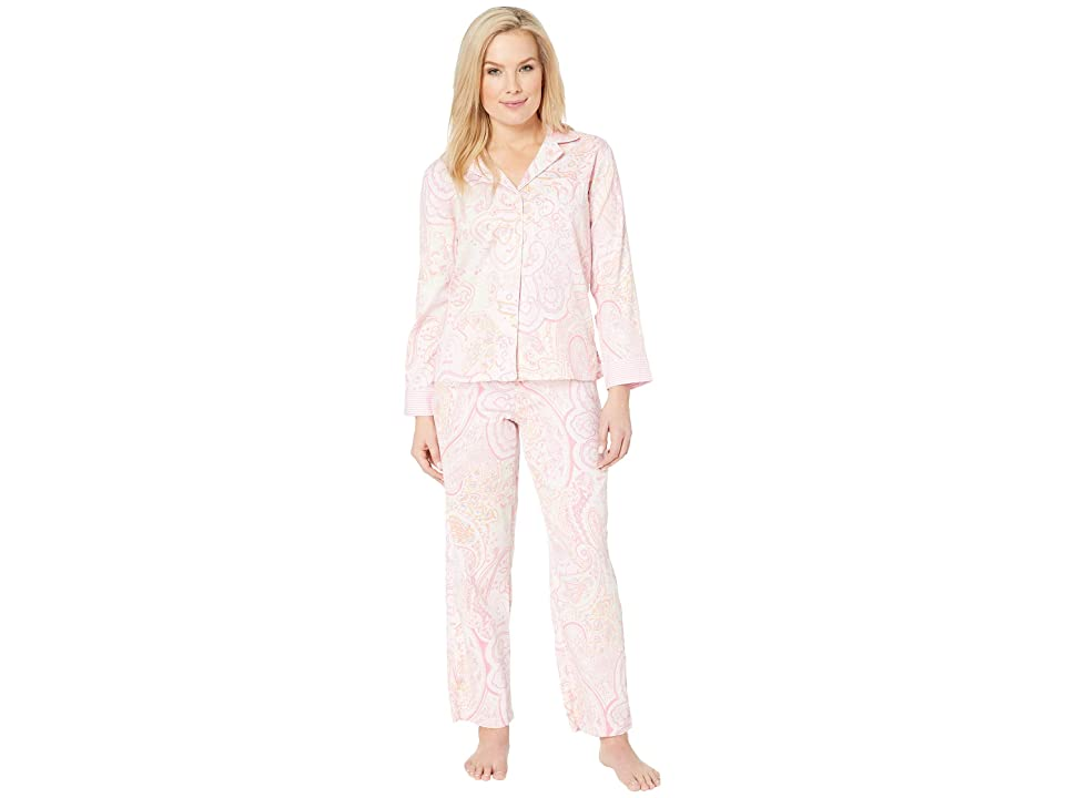 LAUREN Ralph Lauren Petite Pointed Notch Collar Pajama Set (Pink Paisley Print) Women