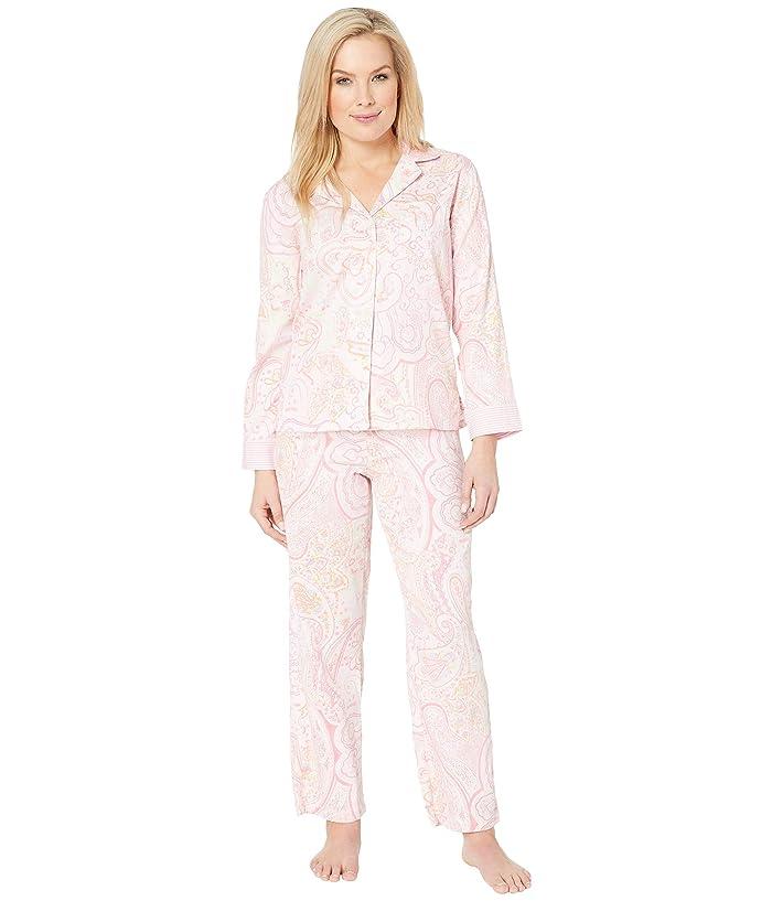 LAUREN Ralph Lauren Petite Pointed Notch Collar Pajama Set (Pink Paisley Print) Women