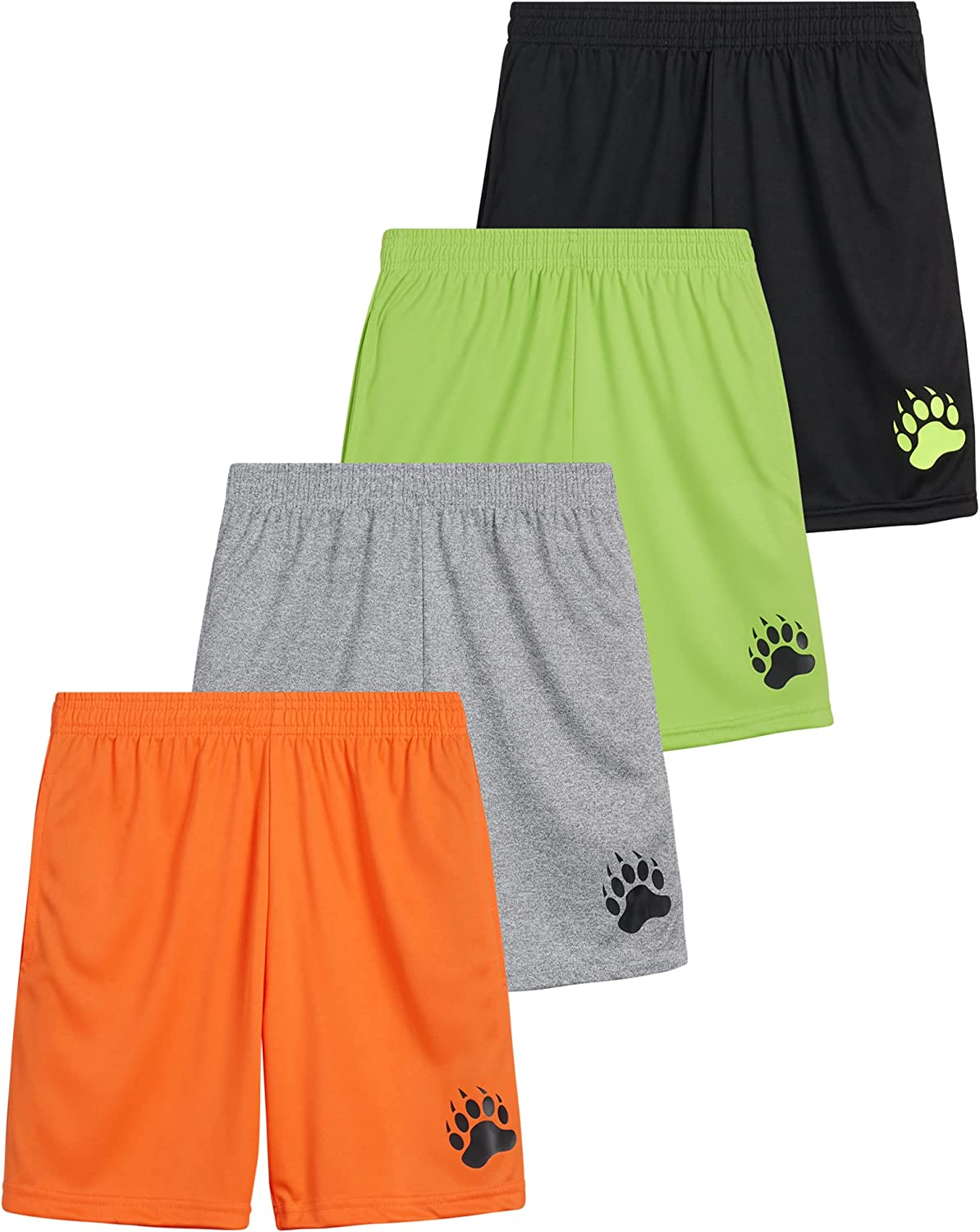 Black Bear Boys' Active Shorts – 4 Pack Performance Dry-Fit Athletic Solid Shorts (Big Boy)