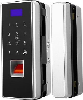 Smart Fingerprint Lock,Glass Door Electronic Touch Card Lock,No Punching Touch Keypad Electronic Fingerprint Password Lock(Si