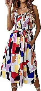 Summer Sunflower Dresses for Women Casual Beach Party Spaghetti Midi Boho Sundress Pocket