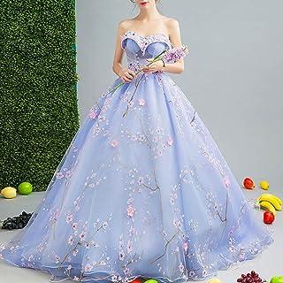 W&TT Mujeres con Cuentas appliquer Tul Prom Vestido Bordado Flor Vestido de la Novia de Hombro 16 Vestidos de quinceañera,Purple,XXL