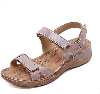 Sandales Femme Été Confortable Talon Compensées Nu-Pieds Mode Chaussure Orthopédique Bout Ouverte Plateforme Cuir PU Grand...
