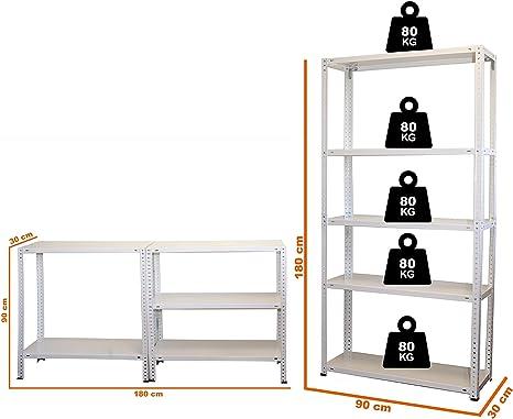 Estanter/ía met/álica galvanizada 875Kg 5 Baldas modular 180 x 90 x 40cm