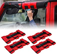 JeCar Roll Bar Grab Handles Grip Handle for Jeep Wrangler CJ YJ TJ JK JK JL JLU JT Gladiator Sports Sahara Rubicon Unlimited 1955-2020 4Pcs (Red)