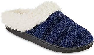 isotoner Women's Microsuede Faux Fur Indoor/Outdoor Hoodback Slipper (Navy Blue, 8.5-9)