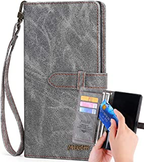 Galaxy Note 10 Wallet Case,Kudex [2 in 1] Folio Flip Leather Impact Drop Resistant Wallet Case with Detachable Slim Back Cover,Card Holders,Money Pocket,Wrist Strap for Samsung Galaxy Note 10 (Gray)