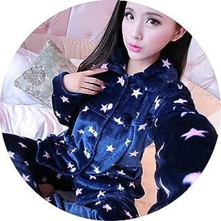 Pajama Female Winter Thick Pajama Flannel Sexy Rose Print Warm Winter Women Pajama,