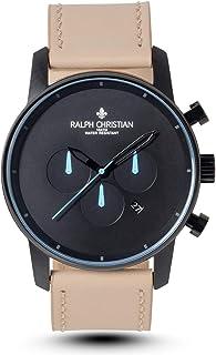 "RALPH CHRISTIAN Men's Minimal Watch""Oslo"" Tan Leather Band Waterproof Matte Black Dual Time Quartz Movement Wrist Watches"