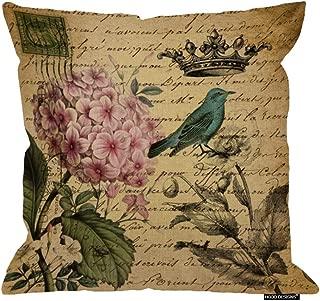 HGOD DESIGNS Vintage Flowers and Bird Throw Pillow Case Stamp Cushion Cover Pillowcase 18 X 18 Hidden Zipper Pillow Cover