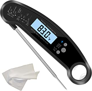 Blacksail Instant Read Digital Meat Thermometer with Backlight for Kitchen Outdoor (Black)