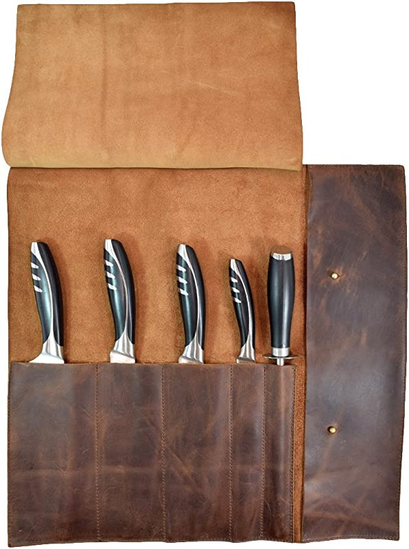 Rustic Leather Knife Roll 5 Pockets Handmade By Hide Drink Bourbon Brown