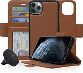 Navor Universal Car Mount & Detachable Magnetic Wallet Case with RFID Protection Compatible for iPhone 11 Pro Max [6.5 inch] [Vajio Series] - Brown [IP11PMXVJKTBR]