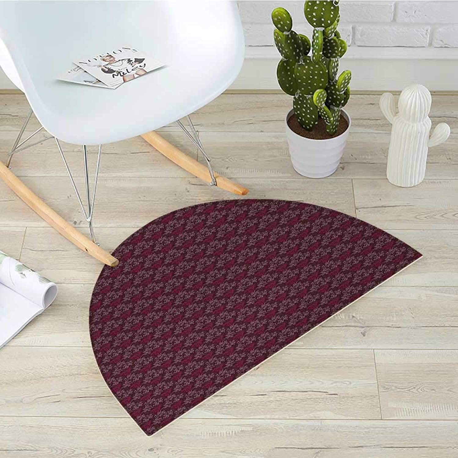 Floral Half Round Door mats Ornamental Royal Victorian Garden Leaves with Little Blossoms Bathroom Mat H 39.3  xD 59  Dark Brown Magenta and Mauve