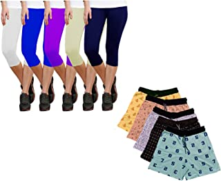 Indiweaves Women's Combo Pack Of Cotton Printed Shorts And Solid Capri