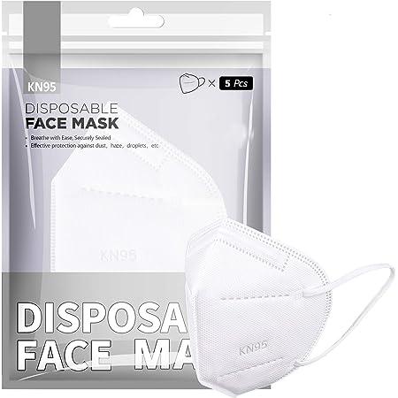 [5 PCS] Masque FFP2 / KN95, masque de protection FFP2 à 5 couches certifié CE haute capacité de filtration Taille M/L blanc