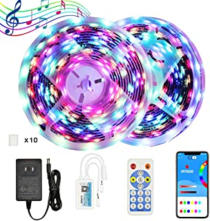 YUNBO Dreamcolor WS2811 Addressable RGB LED Strip Lights, 32.8ft Bluetooth APP and RF Remote Controlled Digital Programmable Rainbow LED Strip Lights Kit for Bedroom Living Room Home Decoration