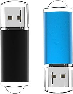 USB Flash Drive 32GB 2Pack, Maspen USB Thumb Drives 2.0 High Speed USB Memory Stick Zip Drives (Black, Blue,32 GB)