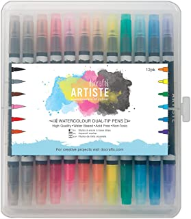 docrafts D851303 Artiste Watercolor Dual Tip Pens, Brush and Marker, 12-Pack