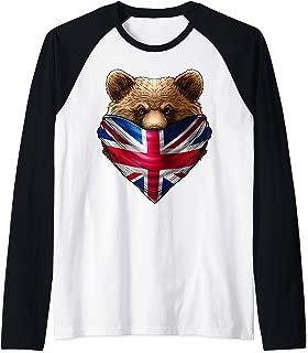 England UK Flag California Bear Wearing British Flag Bandana Raglan Baseball Tee