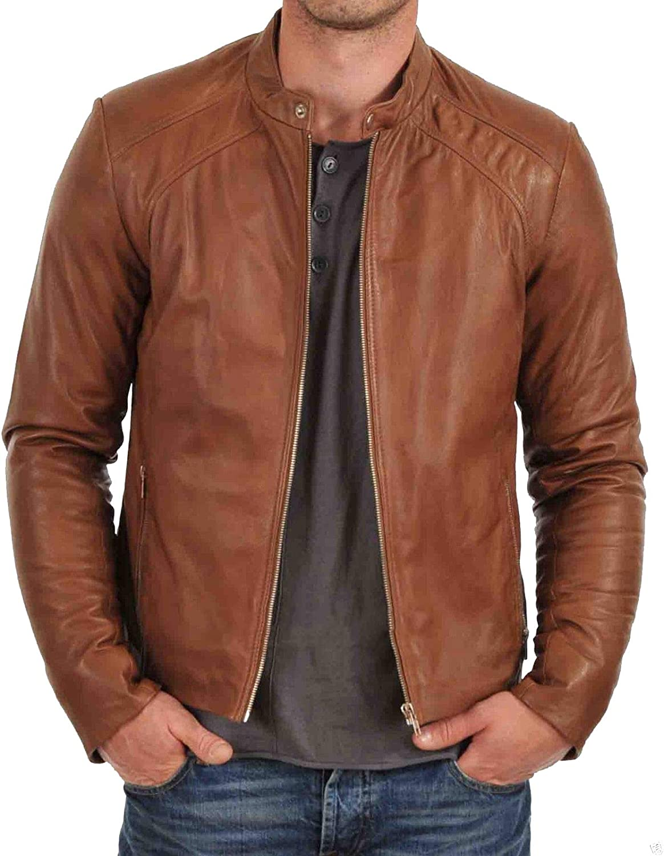 Brand Me Men's Genuine Leather Pure Lambskin Biker Jacket BM002