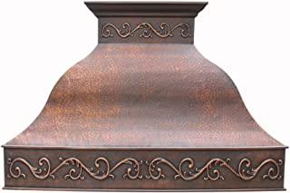 Hand Hammered Copper Vent Hood, includes Professional Liner,Internal Motor and Lighting, Sepcial Trim Design make it easy to install, Antique Copper FInish Suite to Most American Kitchens 36 x 30inch