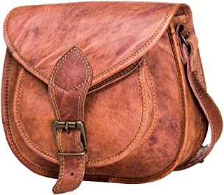 """Urban Leather Cross Body Saddle Bag Purse for Women Purses and Handbags Women's Crossbody Satchel Leather Sling Bags on Sale Woman Brown Tote Hand Bag With Natural Texture For Girls Small Size 9.5"""""""