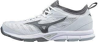 Mizuno Women's Players Trainer 2 Fastpitch Turf Softball Shoe, White/Grey, 10 B US