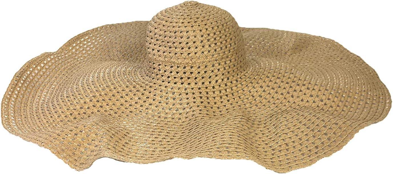 Blue Island Women's Zoe Oversized Floppy Straw Sun Hat, Natural