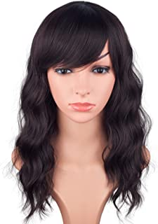 16 Inches Black Mix Brown Fashion Wavy Synthetic Hair Wigs For Black Women With Side Bangs Free Wig Cap (BLACK MIX BROWN(1B/33#)) - coolthings.us