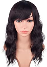 16 Inches Black Mix Brown Fashion Wavy Synthetic Hair Wigs For Black Women With Side Bangs Free Wig Cap (BLACK MIX BROWN(1B/33#))