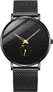 ساعات يد رجالي من OLMECA عصرية وبسيطة، ساعات معصم رفيعة جداً مضادة للماء كوارتز كرونوغراف ساعة للرجال ميلانيز باند 901
