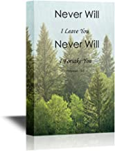 wall26 - Christian Quotes Series Canvas Wall Art - Never Will I Leave You Never Will I Forsake You - Hebrews 13:5 - Gallery Wrap Modern Home Decor   Ready to Hang - 16x24 inches