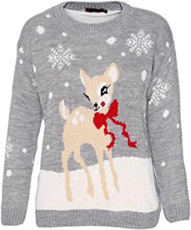 Fashion Clo Thing Unisex Bambini Cervo Natale Maglione Ragazza Strick Bambi Xmas Maglione