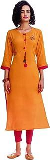 Ladyline Designer Rayon Kurti Kurta 3/4 Sleeves Calf-Length Women Tunic Top