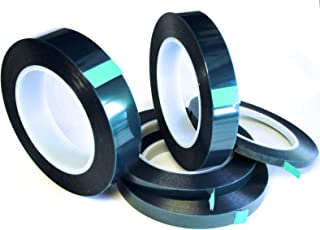 5 Roll High Temp Masking Tape Kit for Powder Coating, Painting, Hydrodip, Sublimation - Green Polyester 1/4