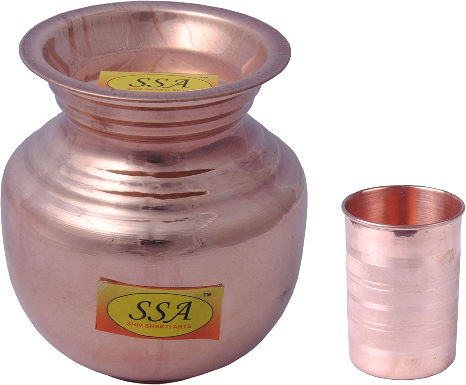 SHIV SHAKTI ARTS (Dia 29 cm X Height 37 cm) Pure Copper Water Pot Dispenser Matka Water Tank Water Storage Lacquer Coated Silver Touch Capacity 12 Litre Weight 1644 gm for use Storage Drinking Water Restaurant Hotel Home Ware Gift Item Home Decore Good He