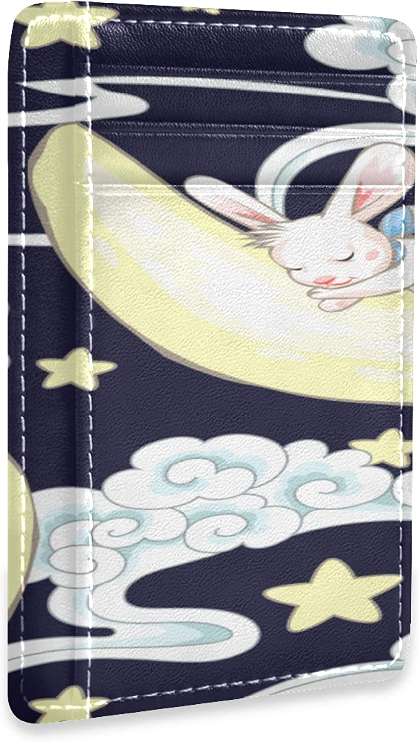 Front Pocket Wallet For Oklahoma City Mall Men Cute Sleeping Bunny Card And Ho Moon OFFicial shop