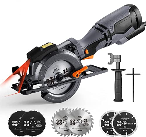 """discount Circular Saw with Metal Handle, 6 Blades(4-3/4"""" & 4-1/2""""), Laser Guide, 5.8A, Max Cutting Depth 1-11/16'' (90°), 1-3/8'' (45°), Corded Saw for lowest Wood, Soft Metal, Tile and new arrival Plastic Cuts - TCS115A sale"""