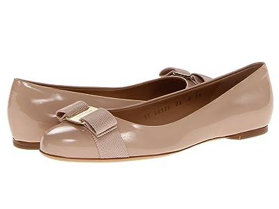 Salvatore Ferragamo Varina Ballet Flat w/ Bow (New Bisque Patent) Women