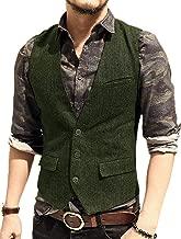 Pretygril Men's Casual Suit Vest Slim Fit Wool Tweed Solid Waistcoat Groomman