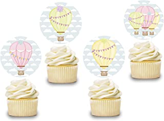 Hot Air Balloon Cake Topper Decor 12 PCS, Girls Cupcake Picks Baby Shower, Pink Birthday Party Decorations Supplies Baby Yellow Themed, Gender Reveal