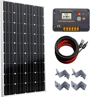 ECO-WORTHY 100 Watts Solar Panel + 20A LCD Display PWM Charge Controller + 16 Feet Solar Cable Adaptor for Off-Grid RV Boat Kit