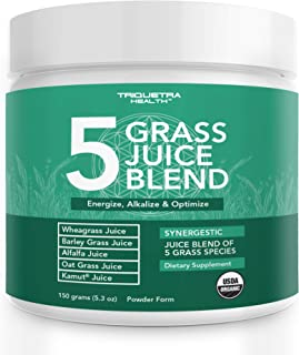 Organic 5 Grass Juice Blend | 20x Potency, Raw, Cold-Pressed | Wheatgrass Juice Powder, Barley Grass Juice Powder & 3 Addi...