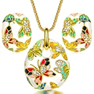 QIANSE Christmas Jewelry Set Gifts Spring of Versailles Gold Plated Handcrafted Enamel Butterfly...