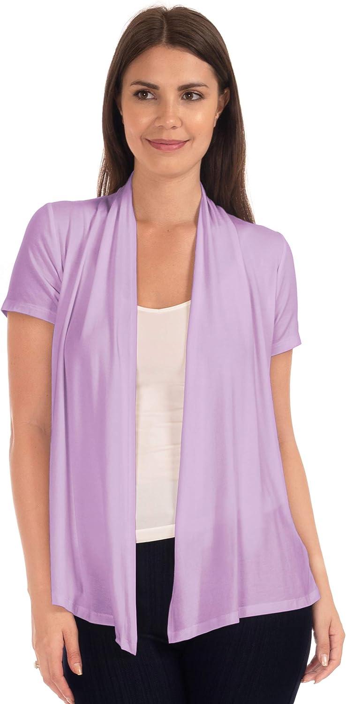 DFF Shop Women's Lightweight Open Drape Short Sleeve Cardigan (Size: S - 5X)