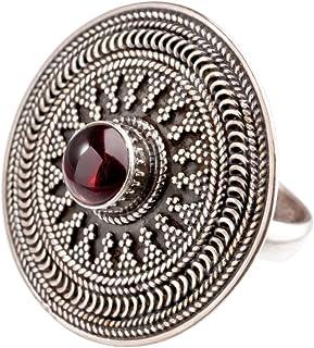 81stgeneration 女款 纯银氧化银圆盘 镶嵌圆形石榴石 民族风戒指指环