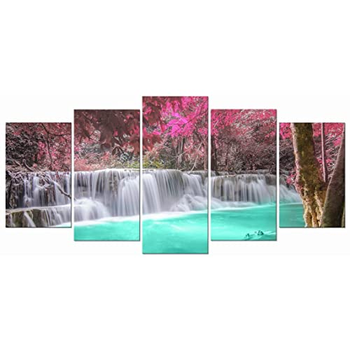 Large art prints Home Decor Canvas Painting Wall Art Purple Forest Waterfall